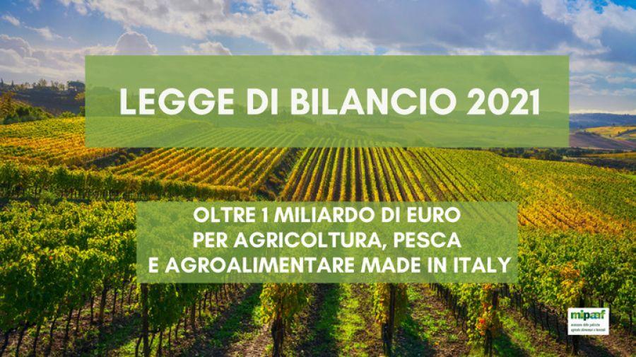 Oltre 1mld per filiere agricole e investimenti infrastrutturali